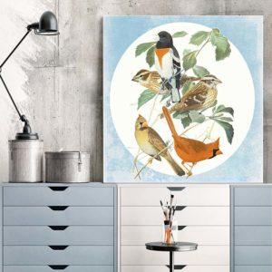 5 Birds Archival Canvas Print Room View