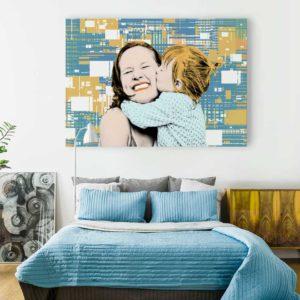 binary-graphic-portrait #10523 pop art custom canvas print room view