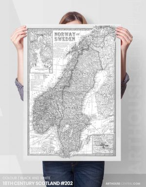 18th-Century-Sweden-Norway-Black-and-White-2-#201-custom-wall-map-canvas-print