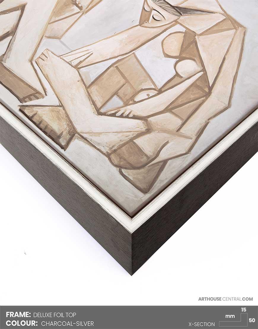 Size 90 X 60 Cm 35x 24 Silver Black Foiltop Frame Arthouse