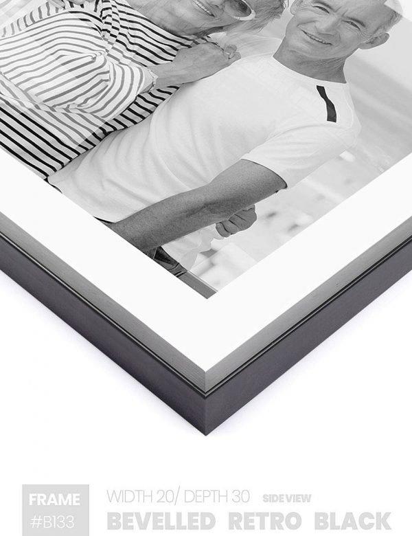Bevelled Retro Black - #B133 - black picture frame - Side View