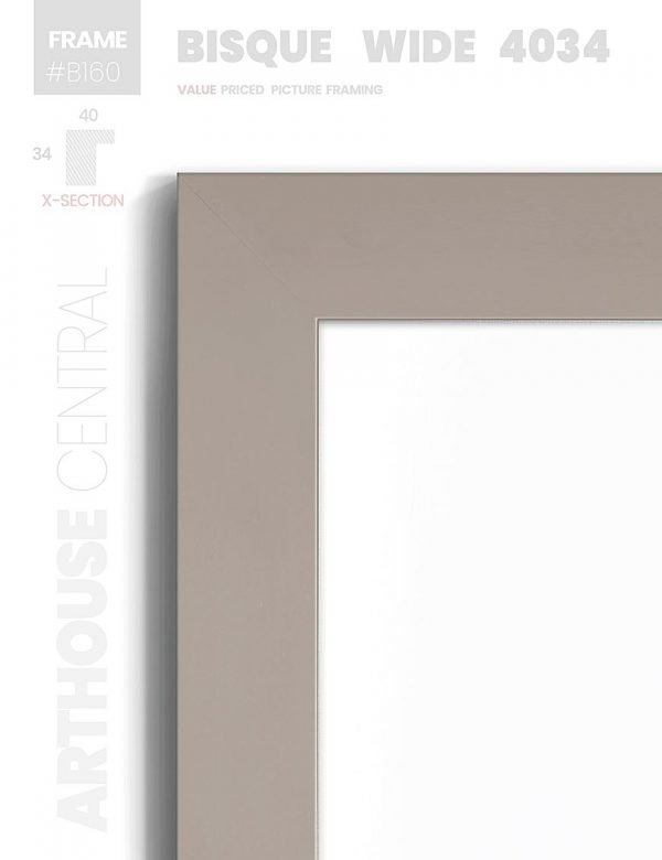 Bisque Wide 4034 - #B160 - black picture frame - Details View