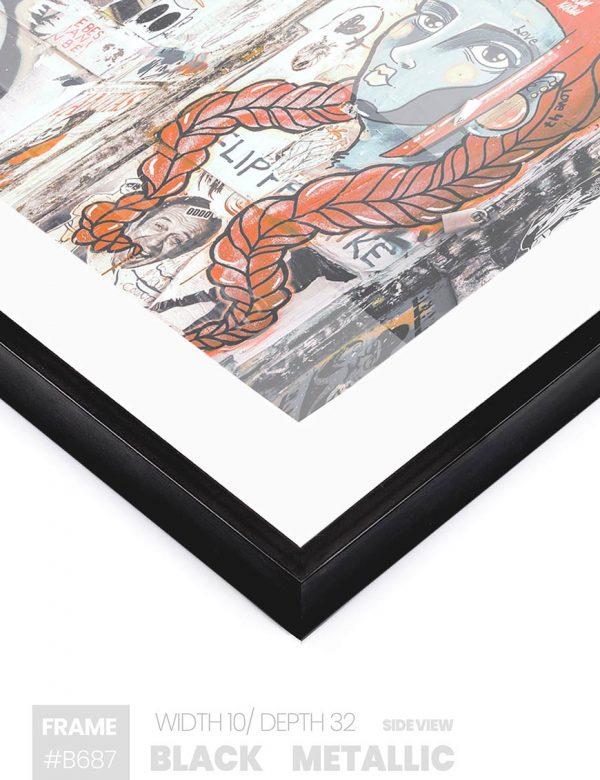Black Metallic - #B687 - black picture frame - Side View