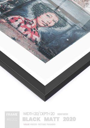 Matt Black 2020 - #B620 - black picture frame - Side View