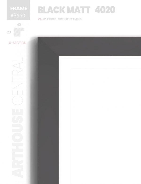 Matt Black 4020 - #B660 - black picture frame - Details View