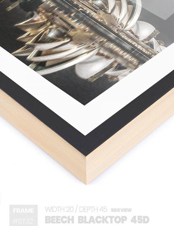 Beech Blacktop 45D - #BT32 - black picture frame - Side View