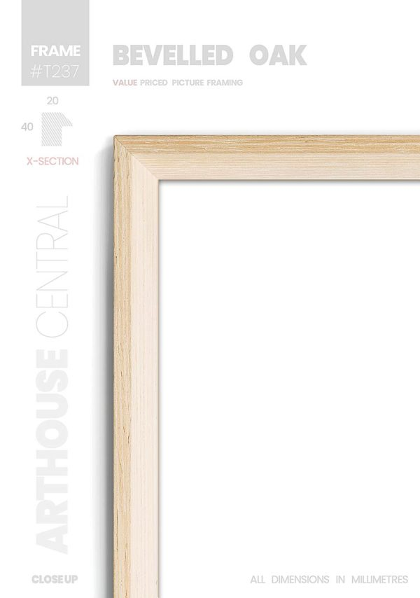 Bevelled Oak - #T237 - timber picture frame - Details View