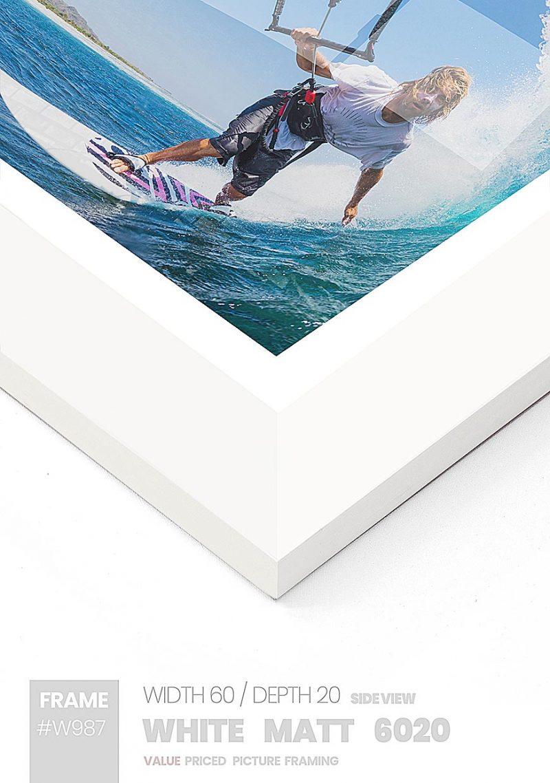 Matt White - #W987 - white picture frame - Side View