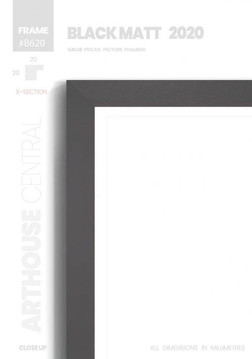 Matt Black 2020 - #B620 - black picture frame - Details View