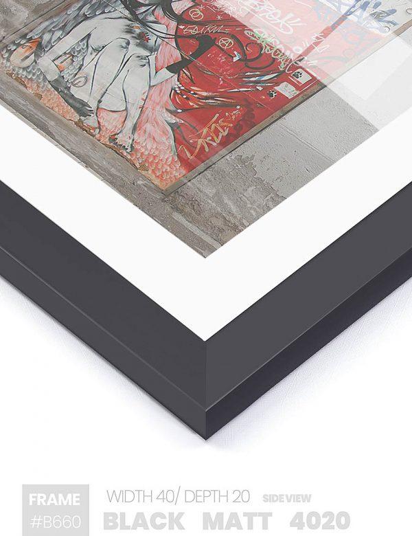 Matt Black 4020 - #B660 - black picture frame - Side View