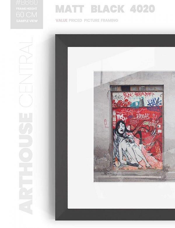Matt Black 4020 - #B660 - black picture frame - Wall View