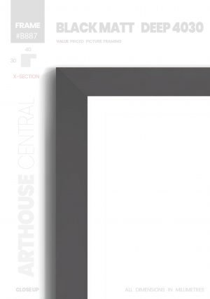 Matt Black 4030 - #B887 - black picture frame - Details View