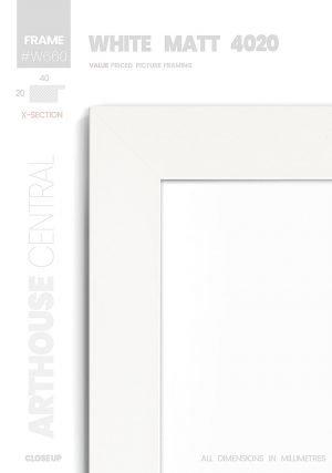 Matt White 4020 - #W660 - white picture frame - Details View