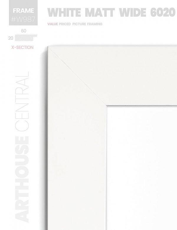 Matt White - #W987 - white picture frame - Details View