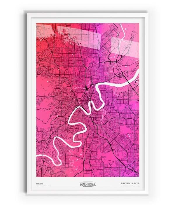 Algernon Coloured Map of Greater Brisbane with white frame