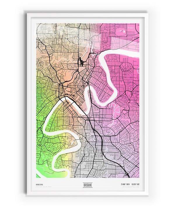 Arlington Coloured Map of Brisbane with white frame
