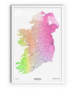 Arlington Coloured Map of Ireland with white frame