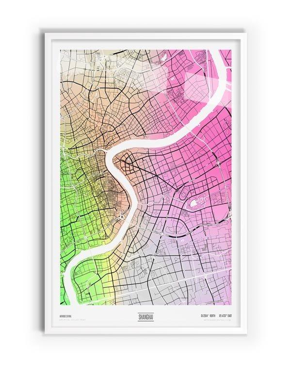 Arlington Coloured Map of Shanghai with white frame