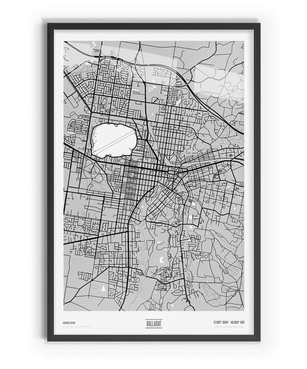 Blanc Coloured Map of Ballarat with black frame