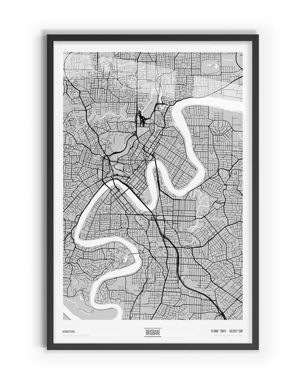 Blanc Coloured Map of Brisbane with black frame