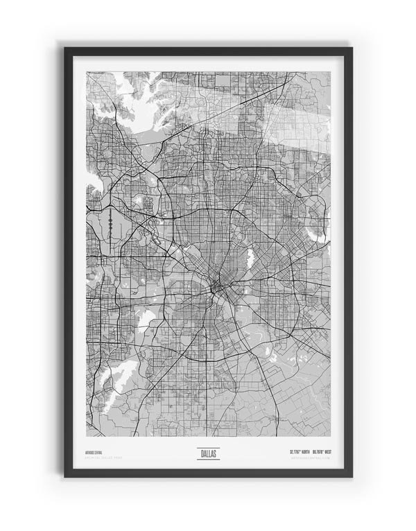 Blanc Coloured Map of Dallas with black frame