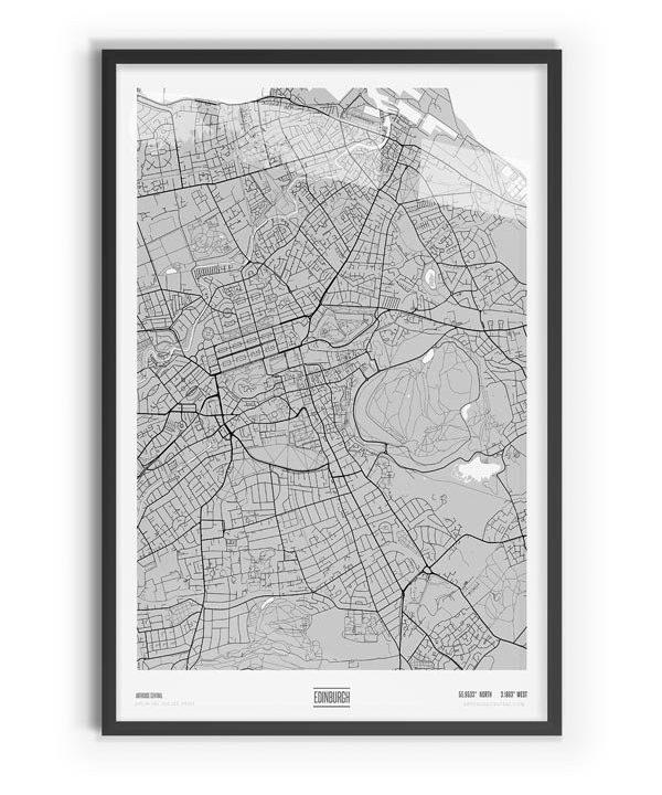 Blanc Coloured Map of Edinburgh with black frame