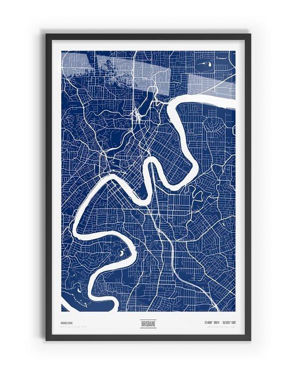 Blue Print Coloured Map of Brisbane with black frame
