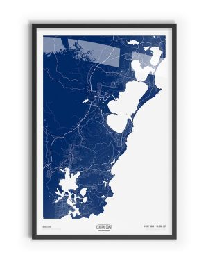 Blue Print Coloured Map of Central Coast with black frame