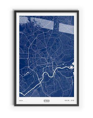 Blue Print Coloured Map of Nottingham with black frame