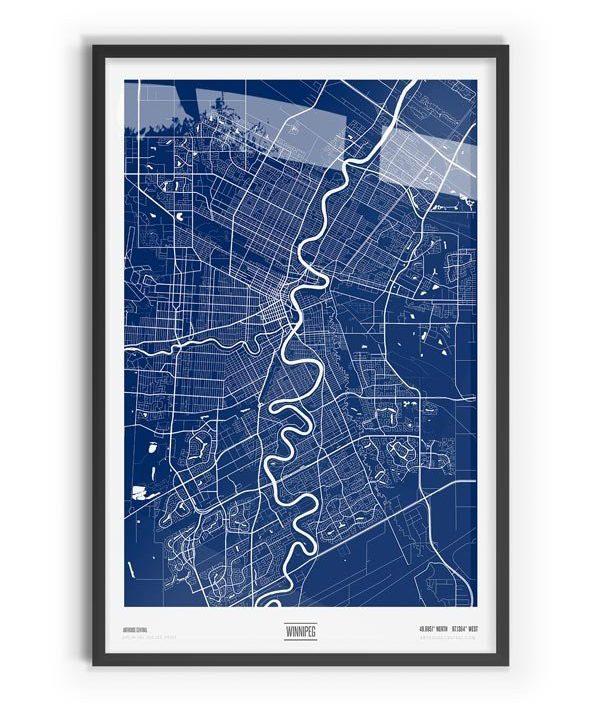 Blue Print Coloured Map of Winnipeg with black frame