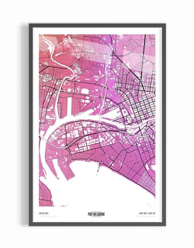 Contemporary Algernon Coloured Map of Port Melbourne With Black Frame