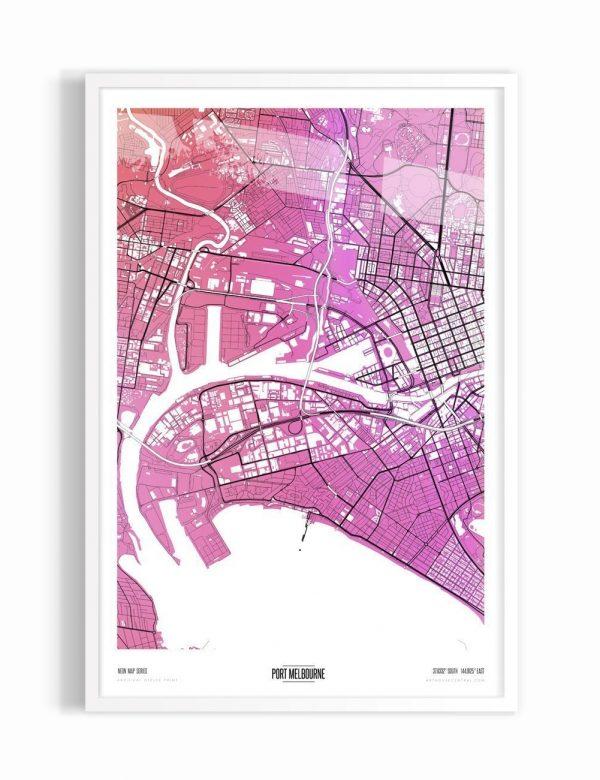 Contemporary Algernon Coloured Map of Port Melbourne With White Frame