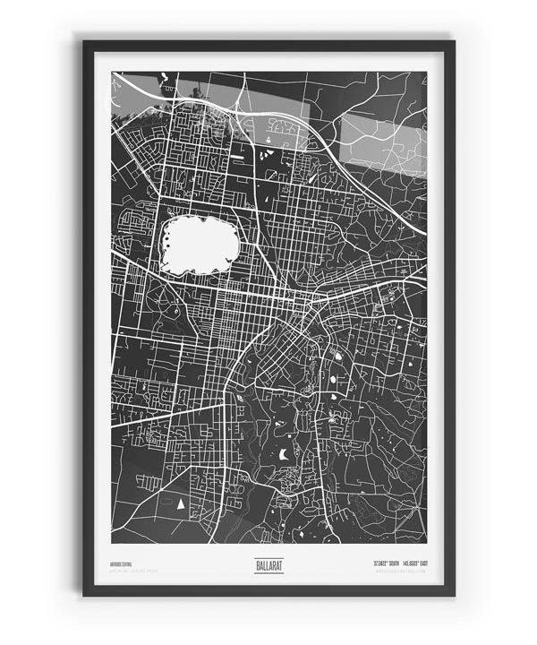 Murdock Coloured Map of Ballarat with black frame