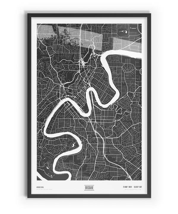Murdock Coloured Map of Brisbane with black frame