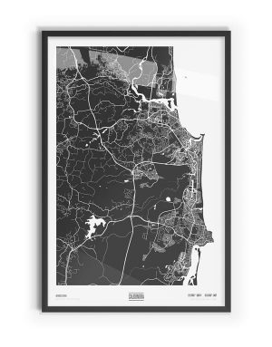 Murdock Coloured Map of Caloundra with black frame