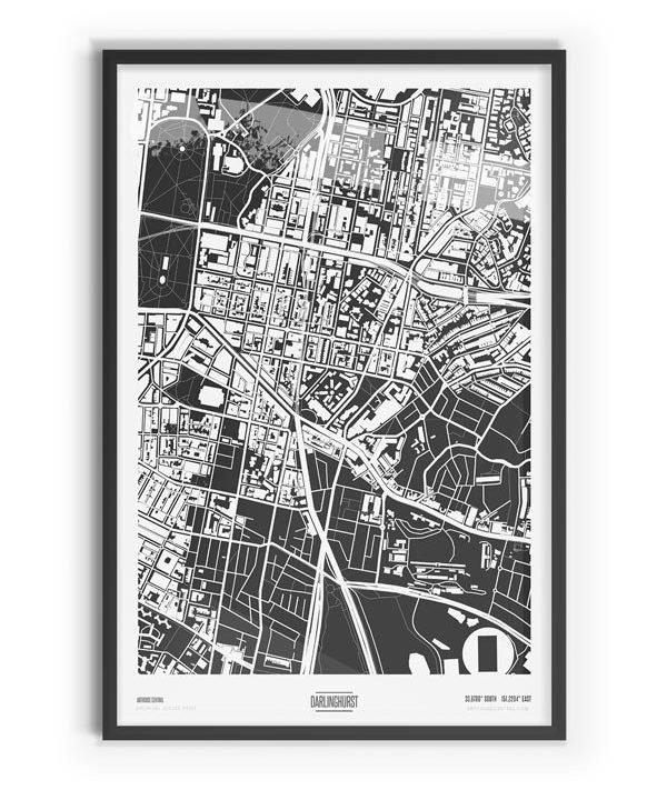 Murdock Coloured Map of Darlinghurst with black frame