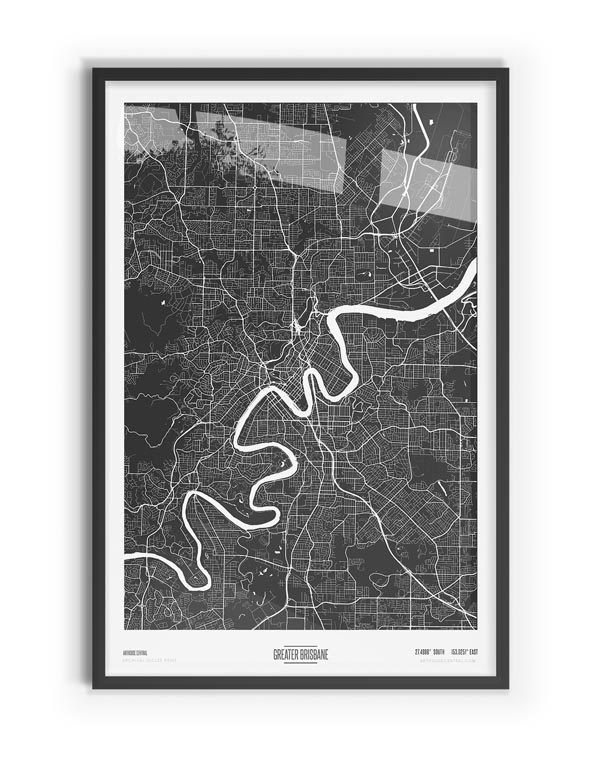 Murdock Coloured Map of Greater Brisbane with black frame