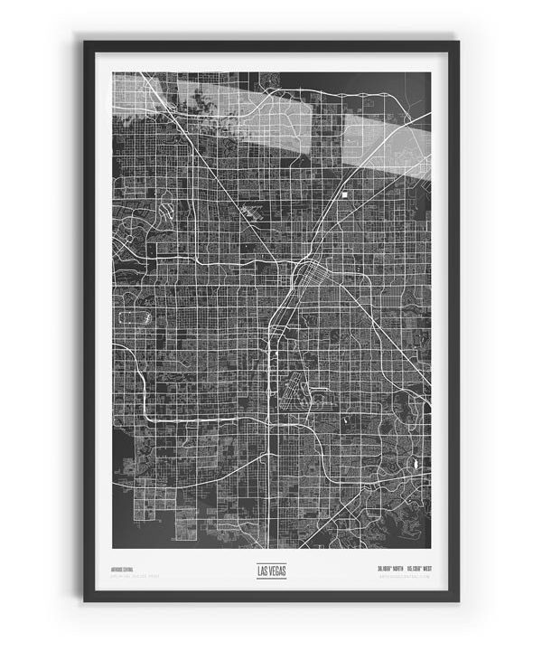 Murdock Coloured Map of Las Vegas with black frame