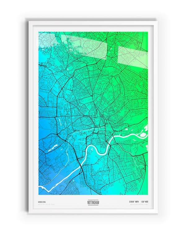 Osterfox Coloured Map of Nottingham with white frame