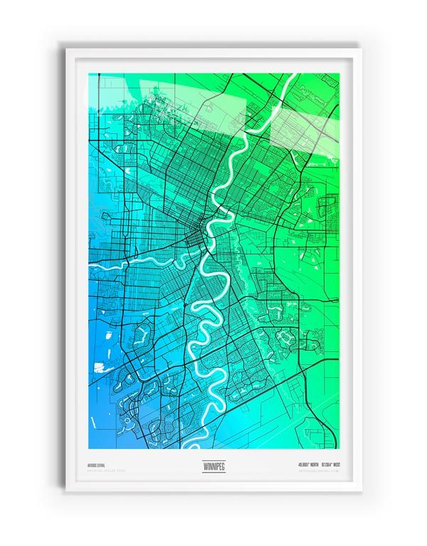 Osterfox Coloured Map of Winnipeg with white frame