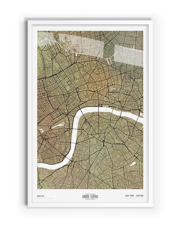 Paperbark Coloured Map of London with white frame