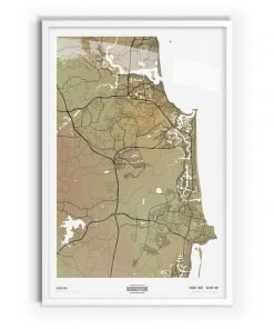 Paperbark Coloured Map of Maroochydore with white frame