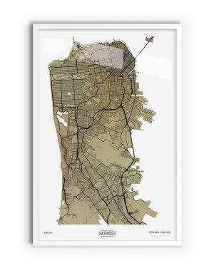 Paperbark Coloured Map of San Francisco with white frame