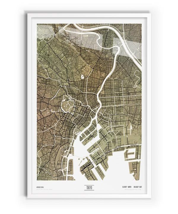 Paperbark Coloured Map of Tokyo with white frame