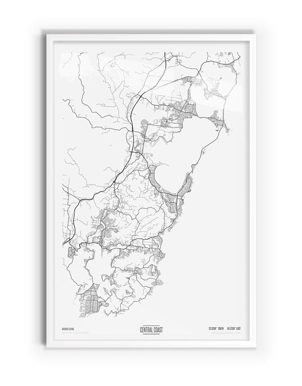 Pure Coloured Map of Central Coast with white frame