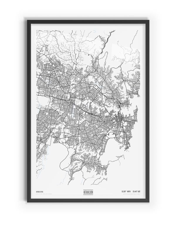 Pure Coloured Map of Greater Sydney with black frame