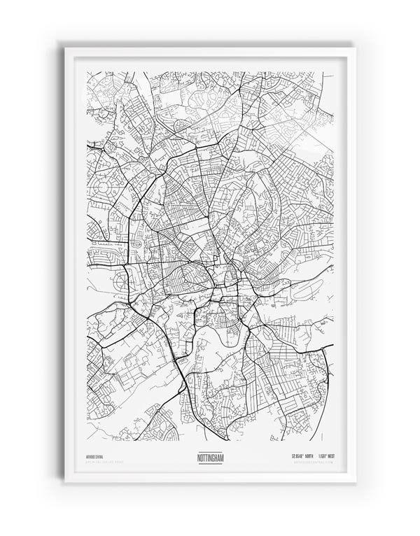 Pure Coloured Map of Nottingham with white frame