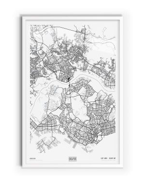 Pure Coloured Map of Singapore with white frame