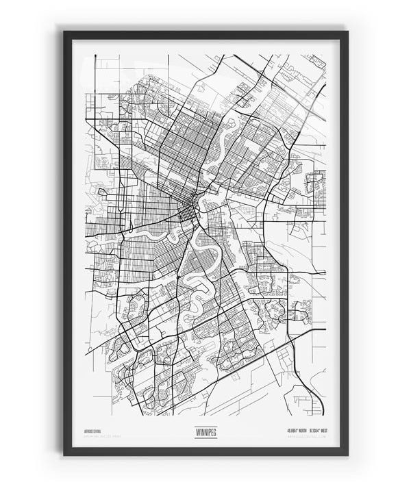 Pure Coloured Map of Winnipeg with black frame
