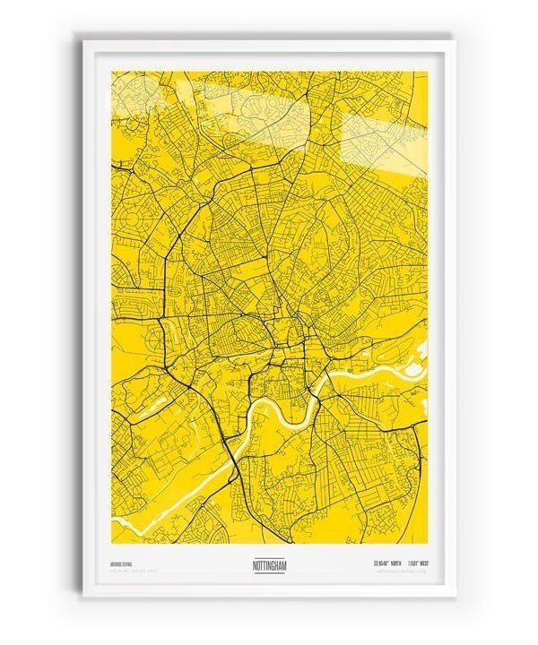 Sulphur Coloured Map of Nottingham with white frame